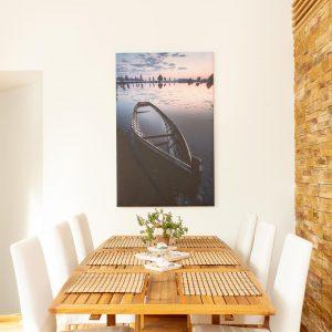 1-osainen Canvastaulu – Kahvisaari auringonlasku ja vene