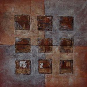 Käsinmaalattu taulu - Öljyväri - Oranssi ruutu - AK-Taulucenter