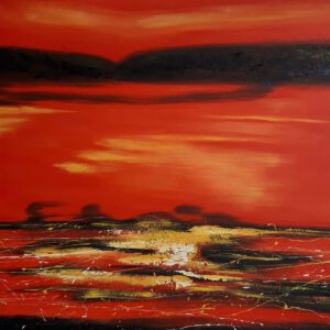 Käsinmaalattu taulu - Öljyväri - Auringonlasku - AK-Taulucenter