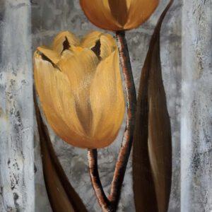 Käsinmaalattu taulu - Öljyväri - Keltaiset kukat - AK-Taulucenter