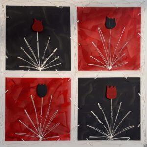 Käsinmaalattu taulu - Öljyväri - Puna-mustat kukat - AK-Taulucenter