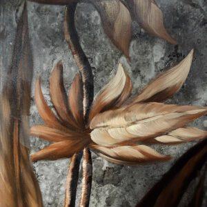 Käsinmaalattu taulu - Öljyväri - Ruskea kukka - AK-Taulucenter