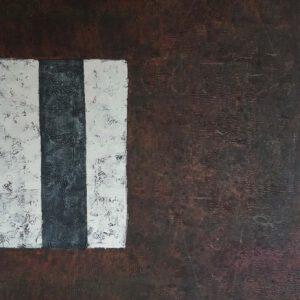 Käsinmaalattu taulu - Öljyväri - Ruskea valkoinen raidat - AK-Taulucenter