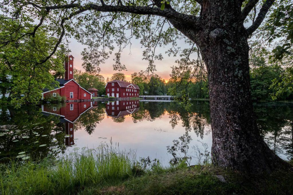 Ruotsinpyhtää heijastus auringonlaskussa - Jari Sokka - AK-Taulucenter