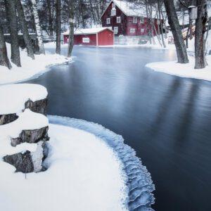5-osaiset Symmetriset Canvastaulusarjat – Vääksyn Kanava Talvinen Joki