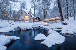 Vääksyn kanava talvinen silta ja joki - Jari Sokka - AK-Taulucenter