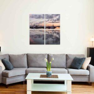 4-osainen Neliöt Canvastaulusarja – Lahden Satama Panorama