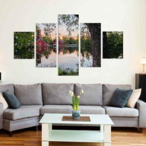 5-osaiset Symmetriset Canvastaulusarjat – Ruotsinpyhtää Heijastus Auringonlaskussa