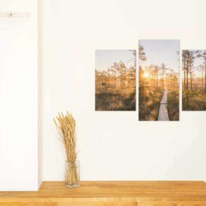 3-osaiset Symmetriset Canvastaulusarjat – Linnaistensuon Pitkospuut Auringonlasku