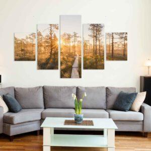 5-osaiset Symmetriset Canvastaulusarjat – Linnaistensuon Pitkospuut Auringonlasku