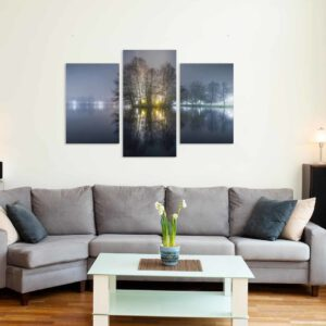 3-osaiset Symmetriset Canvastaulusarjat – Pikku-Vesijärvi Syksyinen Sumu