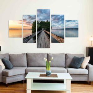 5-osaiset Symmetriset Canvastaulusarjat – Myllysaari Auringonlasku