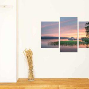 3-osaiset Symmetriset Canvastaulusarjat – Mukkulan Ranta Auringonlasku