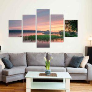 5-osaiset Symmetriset Canvastaulusarjat – Mukkulan Ranta Auringonlasku