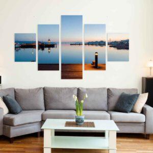 5-osaiset Symmetriset Canvastaulusarjat – Lahden Satama Auringonlasku 2