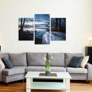 3-osaiset Symmetriset Canvastaulusarjat – Vesijärvi Syksy Vene