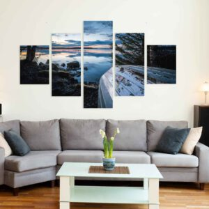 5-osaiset Symmetriset Canvastaulusarjat – Vesijärvi Syksy Vene