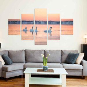 5-osaiset Symmetriset Canvastaulusarjat – Lauttasaari Auringonnousu Talvi Ja Joutsenet