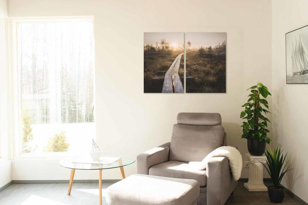 Linnaistensuon pitkospuut auringonlasku - Jari Sokka - 2 piece set vertical - AK-Taulucenter