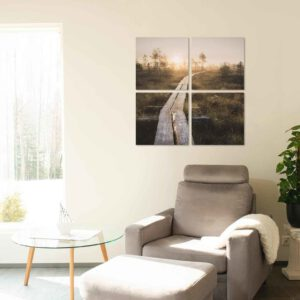 4-osainen Neliöt Canvastaulusarja – Torronsuo Pitkospuut Auringonlasku