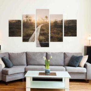 5-osaiset Symmetriset Canvastaulusarjat – Torronsuo Pitkospuut Auringonlasku