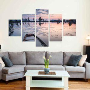 5-osaiset Symmetriset Canvastaulusarjat – Kahvisaari Auringonlasku Ja Vene