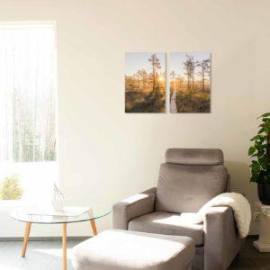 3-, 4- ja 5-osaiset akustiikkapaneelisarjat – Konto – Linnaistensuon pitkospuut auringonlasku  (korkeus 120 cm)