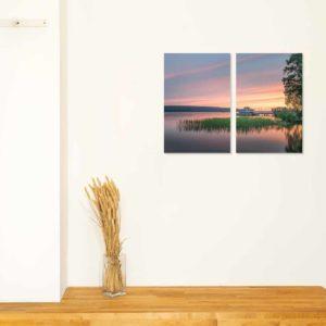 3-, 4- ja 5-osaiset akustiikkapaneelisarjat – Ecophon – Mukkulan ranta auringonlasku (korkeus 120 cm)