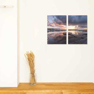 3-, 4- ja 5-osaiset akustiikkapaneelisarjat – Ecophon – Lahden satama auringonlasku 1 (korkeus 120 cm)