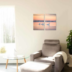 2-, 3- ja 4-osaiset akustiikkapaneelisarjat – Vaimee – Lauttasaari auringonnousu talvi ja joutsenet  (korkeus 90 cm)