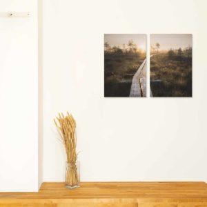 2-, 3- ja 4-osaiset akustiikkapaneelisarjat – Vaimee – Torronsuo pitkospuut auringonlasku  (korkeus 90 cm)