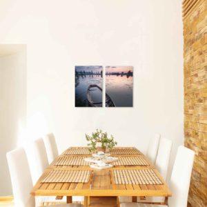 3-, 4- ja 5-osaiset akustiikkapaneelisarjat – Ecophon – Kahvisaari auringonlasku ja vene (korkeus 120 cm)