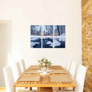 6-osaiset ja 8-osaiset akustiikkapaneelisarjat – Vaimee – Vääksyn kanava talvinen silta ja joki (60×60 cm)