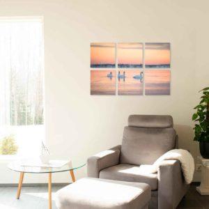 6-osaiset ja 8-osaiset akustiikkapaneelisarjat – Ecophon – Lauttasaari auringonnousu talvi ja joutsenet  (60×60 cm)