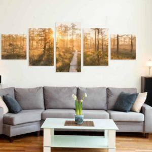 5-osainen symmetrinen akustiikkapaneelisarja – Konto – Linnaistensuon pitkospuut auringonlasku